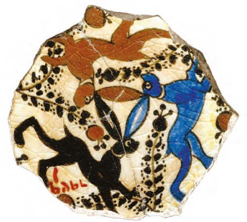 Egyptian or Syrian pottery fragment c1200AD Cairo Museum