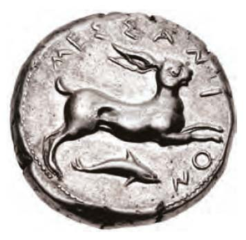 Hare with dolphin coin