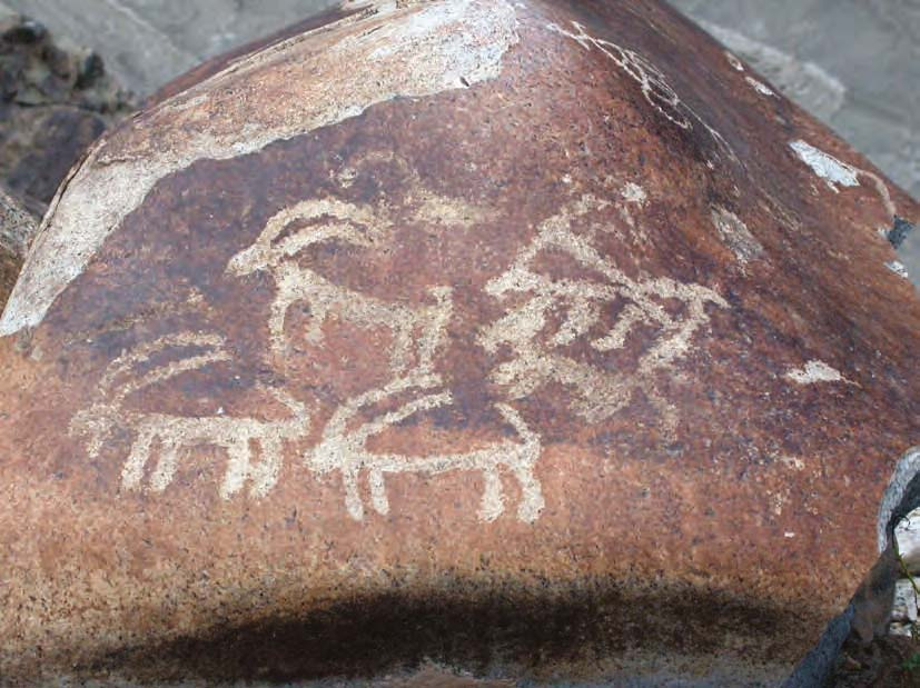 Ibex carvings on the banks of the River Indus