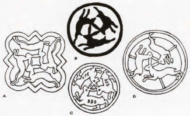 Three Hares illustrations from La Moyen Age Fantastique