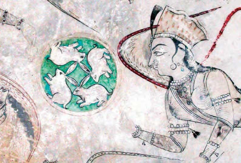 Four hares and asparas detail