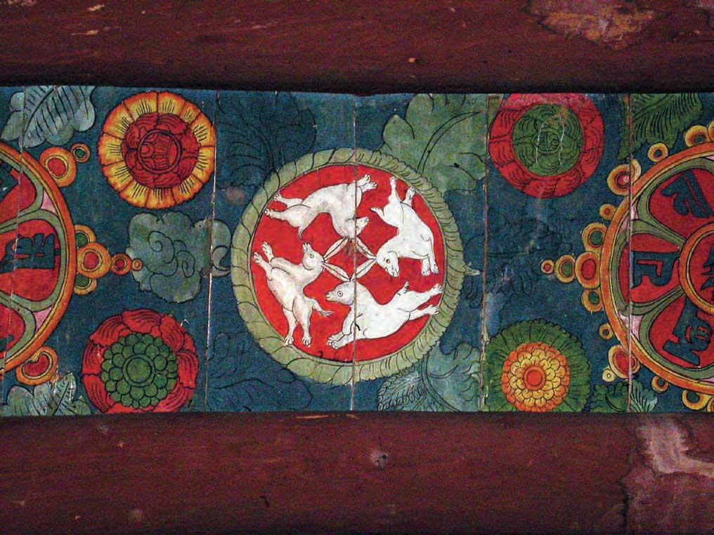 Four hares on the ceiling of the Basgo Maitreya Temple c1550AD